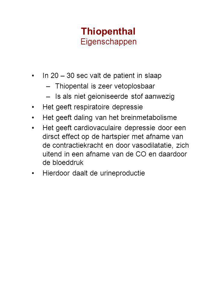 In 20 – 30 sec valt de patient in slaap –Thiopental is zeer vetoplosbaar –Is als niet geioniseerde stof aanwezig Het geeft respiratoire depressie Het