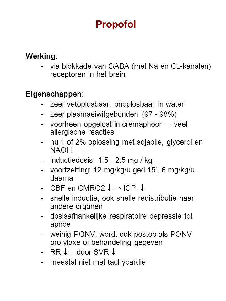 Propofol Werking: via blokkade van GABA (met Na en CL-kanalen) receptoren in het brein Eigenschappen: zeer vetoplosbaar, onoplosbaar in water zeer plasmaeiwitgebonden (97 - 98%) voorheen opgelost in cremaphoor  veel allergische reacties nu 1 of 2% oplossing met sojaolie, glycerol en NAOH inductiedosis: 1.5 - 2.5 mg / kg voortzetting: 12 mg/kg/u ged 15', 6 mg/kg/u daarna CBF en CMRO2   ICP  snelle inductie, ook snelle redistributie naar andere organen dosisafhankelijke respiratoire depressie tot apnoe weinig PONV; wordt ook postop als PONV profylaxe of behandeling gegeven RR  door SVR  meestal niet met tachycardie