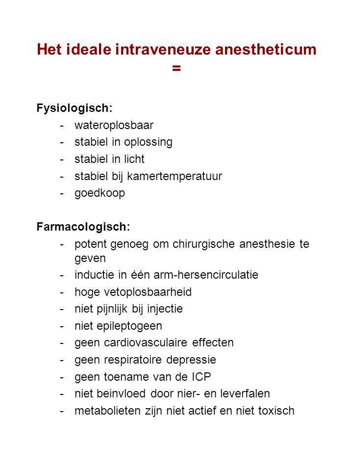 Het ideale intraveneuze anestheticum = Fysiologisch: wateroplosbaar stabiel in oplossing stabiel in licht stabiel bij kamertemperatuur goedkoop F