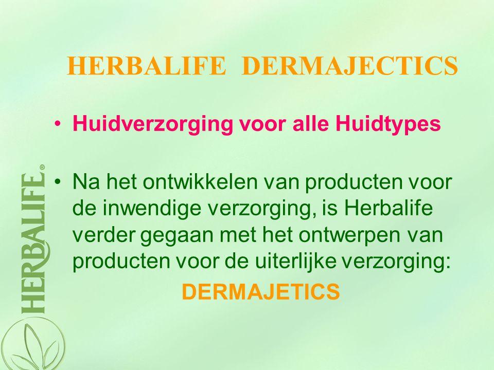 HERBALIFE DERMAJECTICS Huidverzorging voor alle Huidtypes Na het ontwikkelen van producten voor de inwendige verzorging, is Herbalife verder gegaan me