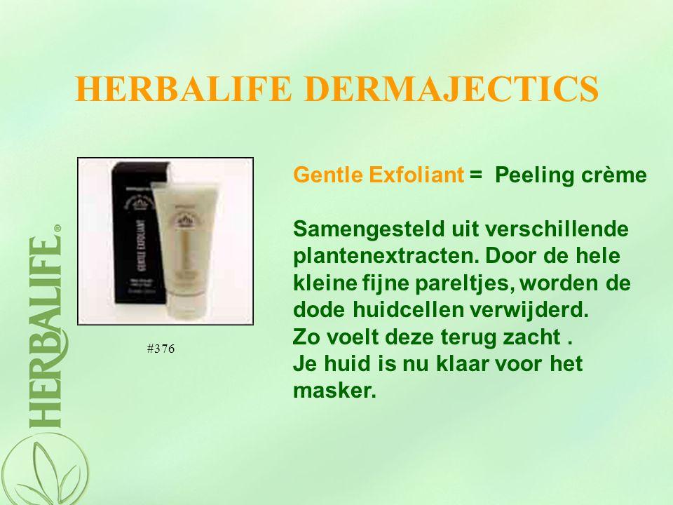 HERBALIFE DERMAJECTICS Gentle Exfoliant = Peeling crème Samengesteld uit verschillende plantenextracten. Door de hele kleine fijne pareltjes, worden d