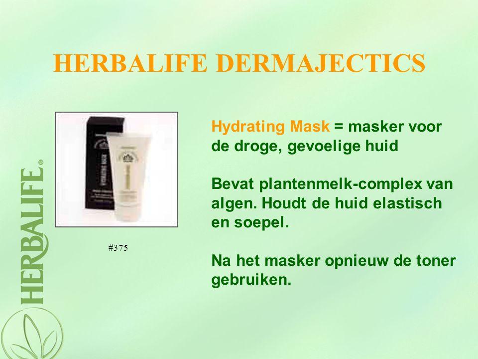 HERBALIFE DERMAJECTICS Hydrating Mask = masker voor de droge, gevoelige huid Bevat plantenmelk-complex van algen. Houdt de huid elastisch en soepel. N