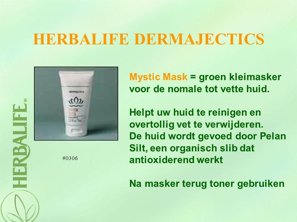 HERBALIFE DERMAJECTICS Mystic Mask = groen kleimasker voor de nomale tot vette huid. Helpt uw huid te reinigen en overtollig vet te verwijderen. De hu