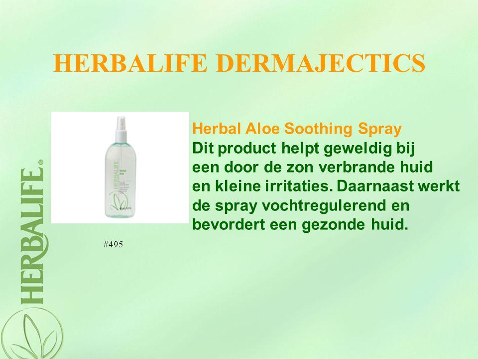 HERBALIFE DERMAJECTICS Herbal Aloe Soothing Spray Dit product helpt geweldig bij een door de zon verbrande huid en kleine irritaties. Daarnaast werkt