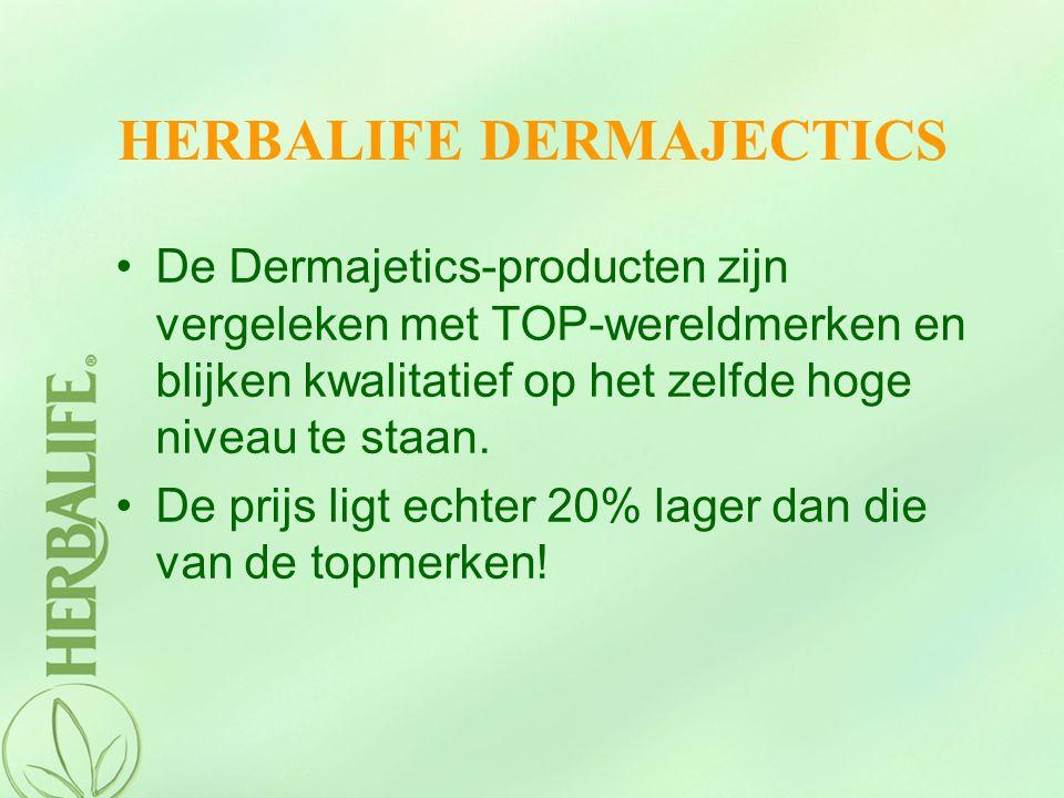 HERBALIFE DERMAJECTICS De Dermajetics-producten zijn vergeleken met TOP-wereldmerken en blijken kwalitatief op het zelfde hoge niveau te staan. De pri