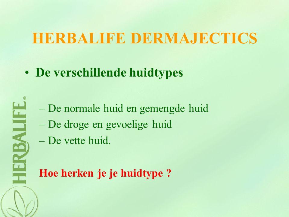 HERBALIFE DERMAJECTICS De verschillende huidtypes –De normale huid en gemengde huid –De droge en gevoelige huid –De vette huid. Hoe herken je je huidt