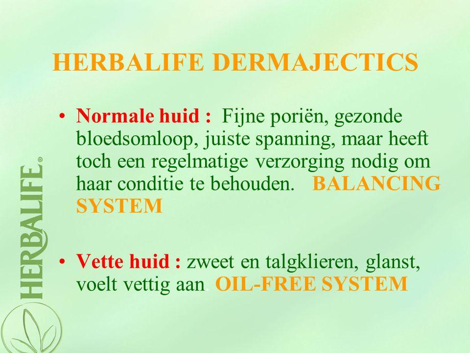 HERBALIFE DERMAJECTICS Normale huid : Fijne poriën, gezonde bloedsomloop, juiste spanning, maar heeft toch een regelmatige verzorging nodig om haar co