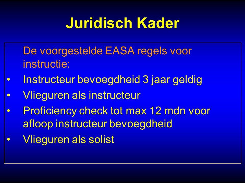 Juridisch Kader De voorgestelde EASA regels voor instructie: Instructeur bevoegdheid 3 jaar geldig Vlieguren als instructeur Proficiency check tot max 12 mdn voor afloop instructeur bevoegdheid Vlieguren als solist