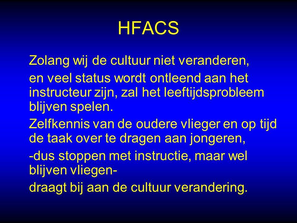 HFACS Zolang wij de cultuur niet veranderen, en veel status wordt ontleend aan het instructeur zijn, zal het leeftijdsprobleem blijven spelen.