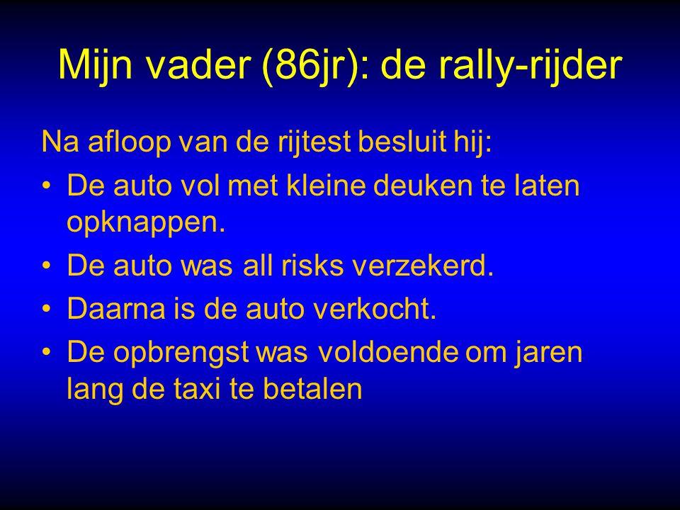 Mijn vader (86jr): de rally-rijder Na afloop van de rijtest besluit hij: De auto vol met kleine deuken te laten opknappen.