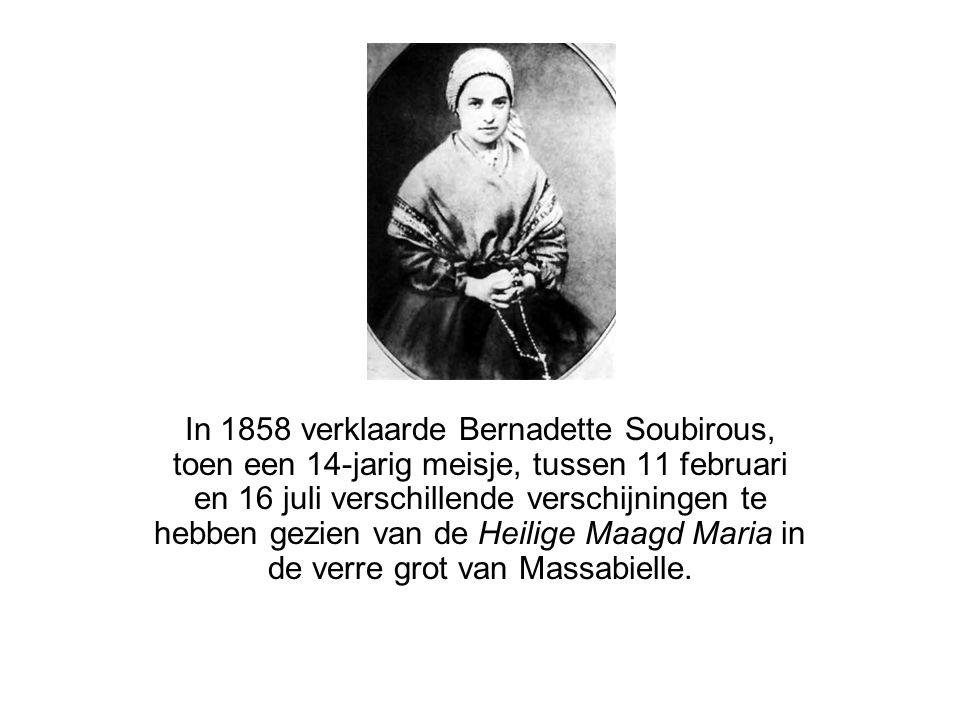 In 1858 verklaarde Bernadette Soubirous, toen een 14-jarig meisje, tussen 11 februari en 16 juli verschillende verschijningen te hebben gezien van de