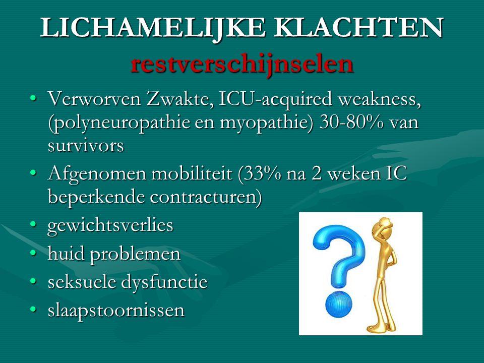 LICHAMELIJKE KLACHTEN restverschijnselen Verworven Zwakte, ICU-acquired weakness, (polyneuropathie en myopathie) 30-80% van survivorsVerworven Zwakte,