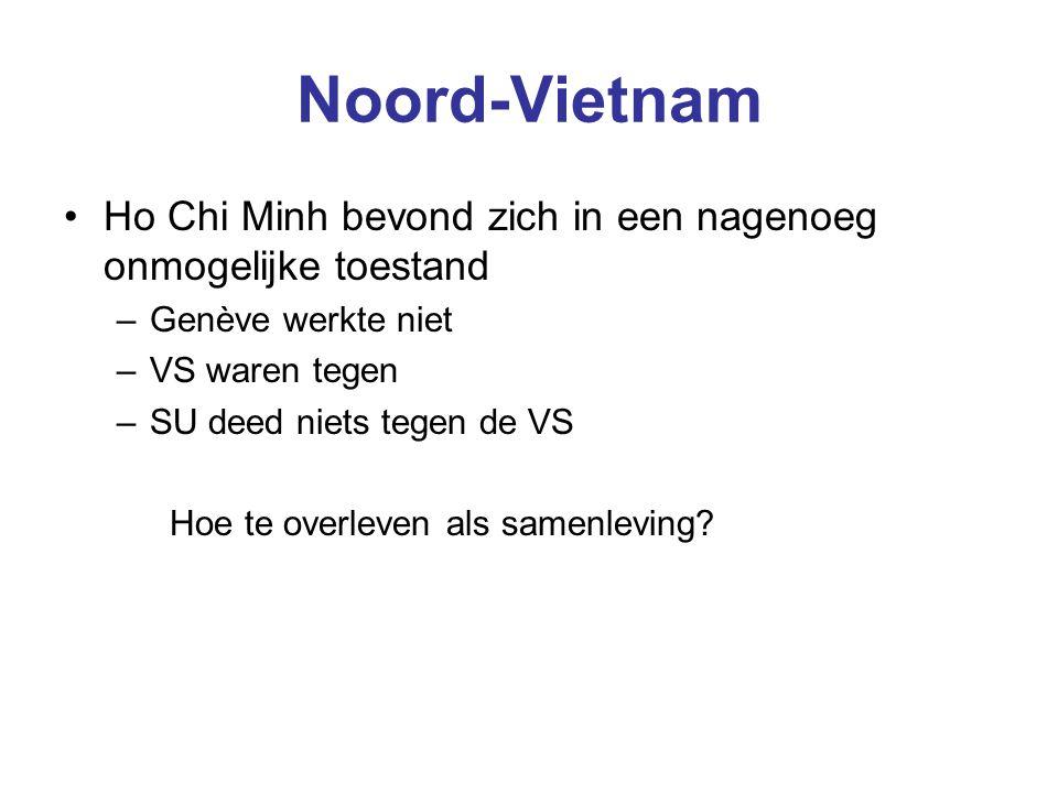 Noord-Vietnam Ho Chi Minh bevond zich in een nagenoeg onmogelijke toestand –Genève werkte niet –VS waren tegen –SU deed niets tegen de VS Hoe te overleven als samenleving