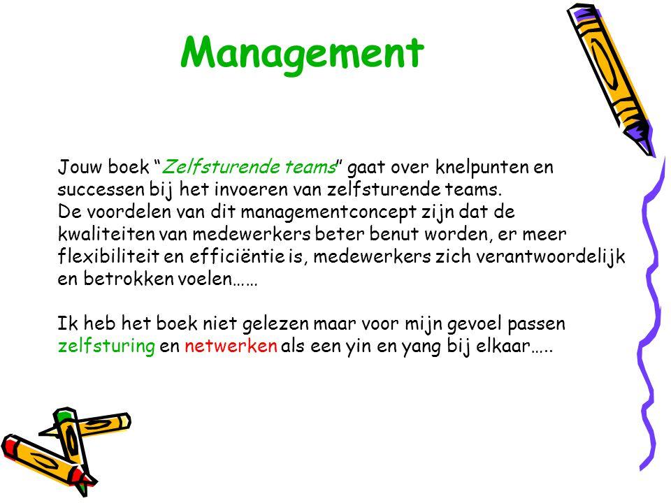 """Management Jouw boek """"Zelfsturende teams"""" gaat over knelpunten en successen bij het invoeren van zelfsturende teams. De voordelen van dit managementco"""
