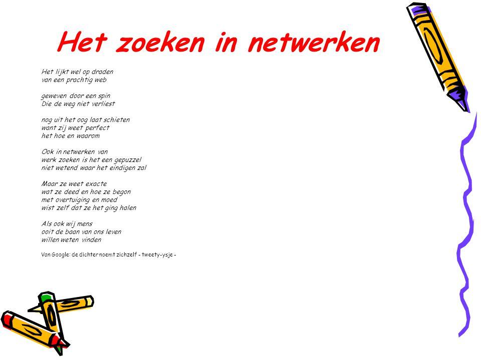Het zoeken in netwerken Het lijkt wel op draden van een prachtig web geweven door een spin Die de weg niet verliest nog uit het oog laat schieten want