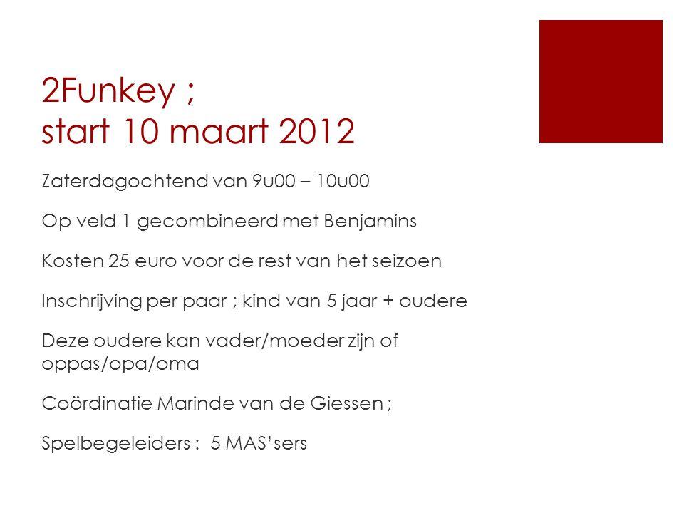 2Funkey ; start 10 maart 2012 Zaterdagochtend van 9u00 – 10u00 Op veld 1 gecombineerd met Benjamins Kosten 25 euro voor de rest van het seizoen Inschr