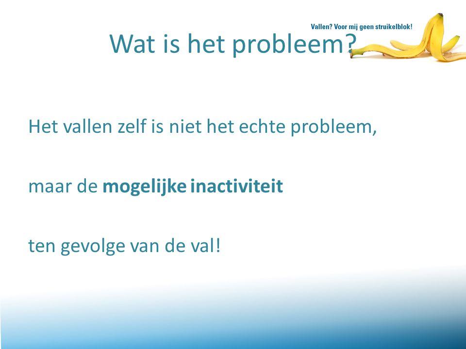 Wat is het probleem? Het vallen zelf is niet het echte probleem, maar de mogelijke inactiviteit ten gevolge van de val!