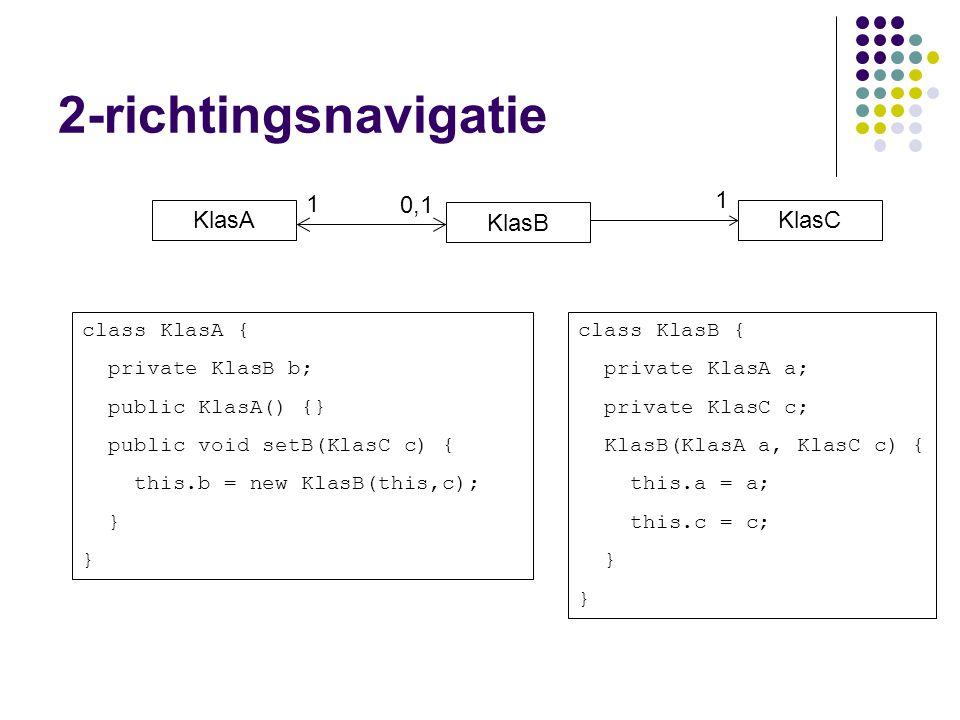 KlasB KlasA 1 0,1 class KlasA { private KlasB b; public KlasA() {} public void setB(KlasC c) { this.b = new KlasB(this,c); } class KlasB { private KlasA a; private KlasC c; KlasB(KlasA a, KlasC c) { this.a = a; this.c = c; } 2-richtingsnavigatie KlasC 1