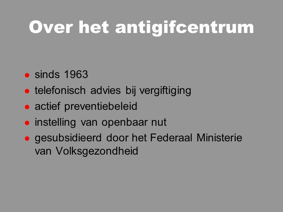 Over het antigifcentrum l sinds 1963 l telefonisch advies bij vergiftiging l actief preventiebeleid l instelling van openbaar nut l gesubsidieerd door