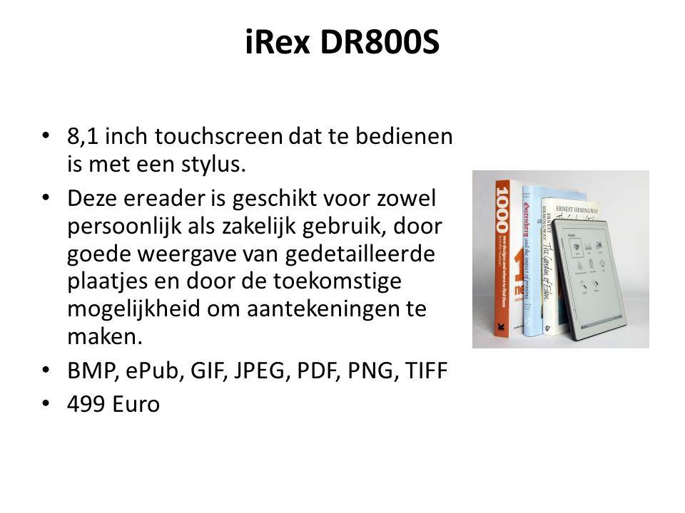 iRex DR800S 8,1 inch touchscreen dat te bedienen is met een stylus. Deze ereader is geschikt voor zowel persoonlijk als zakelijk gebruik, door goede w