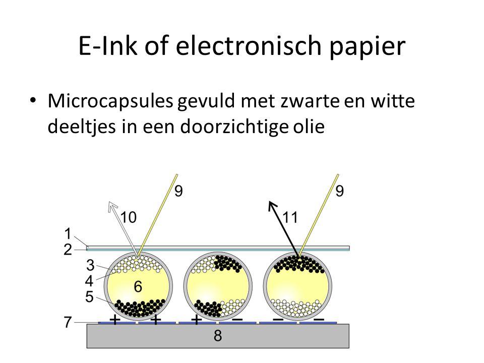 E-ink opbouw Digitaal papier werkt door middel van miljoenen mini capsules, doorzichtige bollen, met een enorm kleine diameter (ongeveer te vergelijken met de doorsnede van haar).