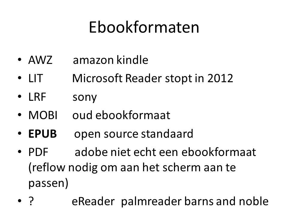 Ebookformaten AWZ amazon kindle LIT Microsoft Reader stopt in 2012 LRF sony MOBI oud ebookformaat EPUB open source standaard PDF adobe niet echt een ebookformaat (reflow nodig om aan het scherm aan te passen) .