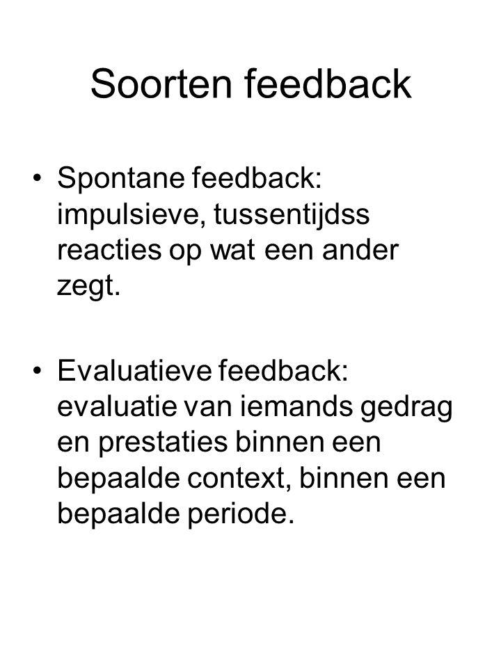 Soorten feedback Spontane feedback: impulsieve, tussentijdss reacties op wat een ander zegt. Evaluatieve feedback: evaluatie van iemands gedrag en pre