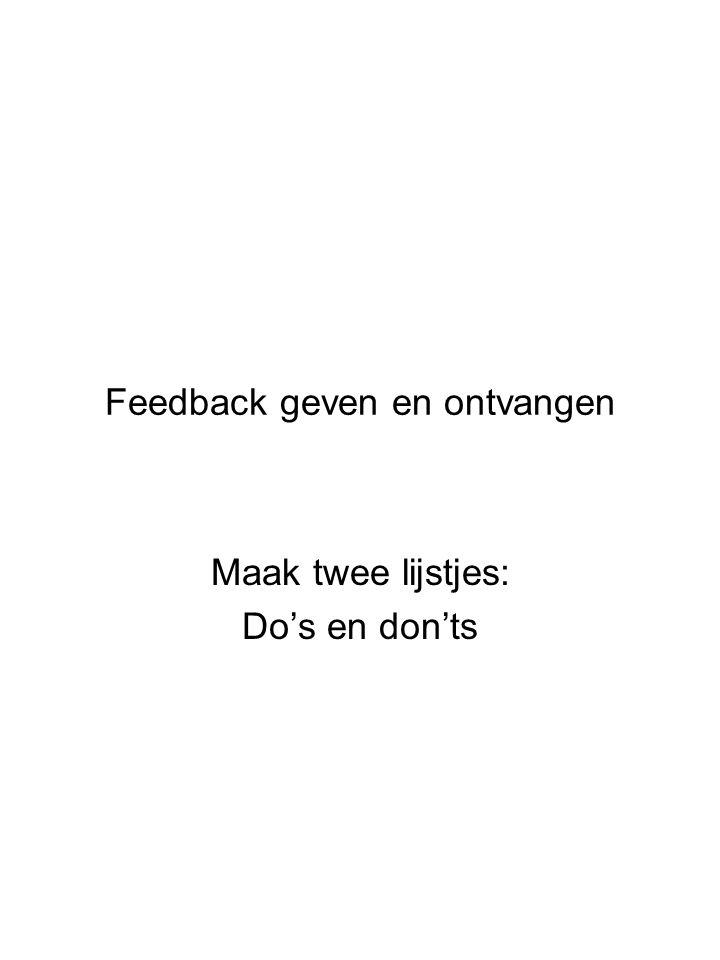 Feedback geven en ontvangen Maak twee lijstjes: Do's en don'ts