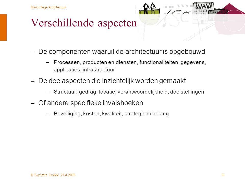 © Twynstra Gudde 21-4-2009 Minicollege Architectuur 10 Verschillende aspecten –De componenten waaruit de architectuur is opgebouwd –Processen, product