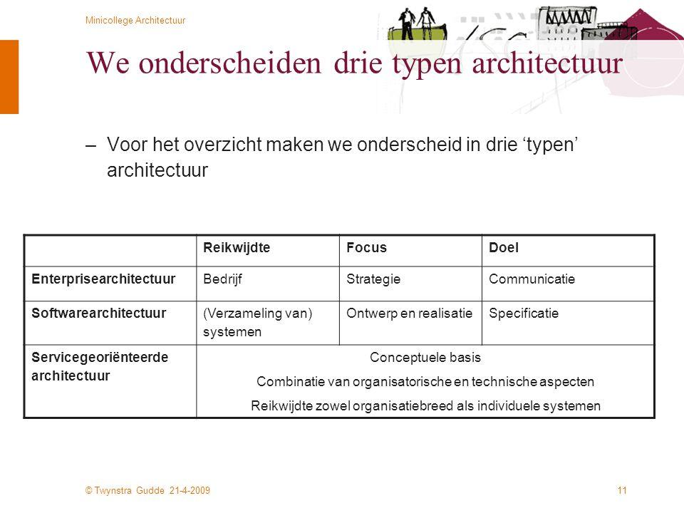 © Twynstra Gudde 21-4-2009 Minicollege Architectuur 11 We onderscheiden drie typen architectuur –Voor het overzicht maken we onderscheid in drie 'type