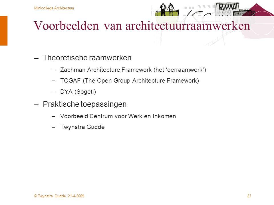 © Twynstra Gudde 21-4-2009 Minicollege Architectuur 23 Voorbeelden van architectuurraamwerken –Theoretische raamwerken –Zachman Architecture Framework