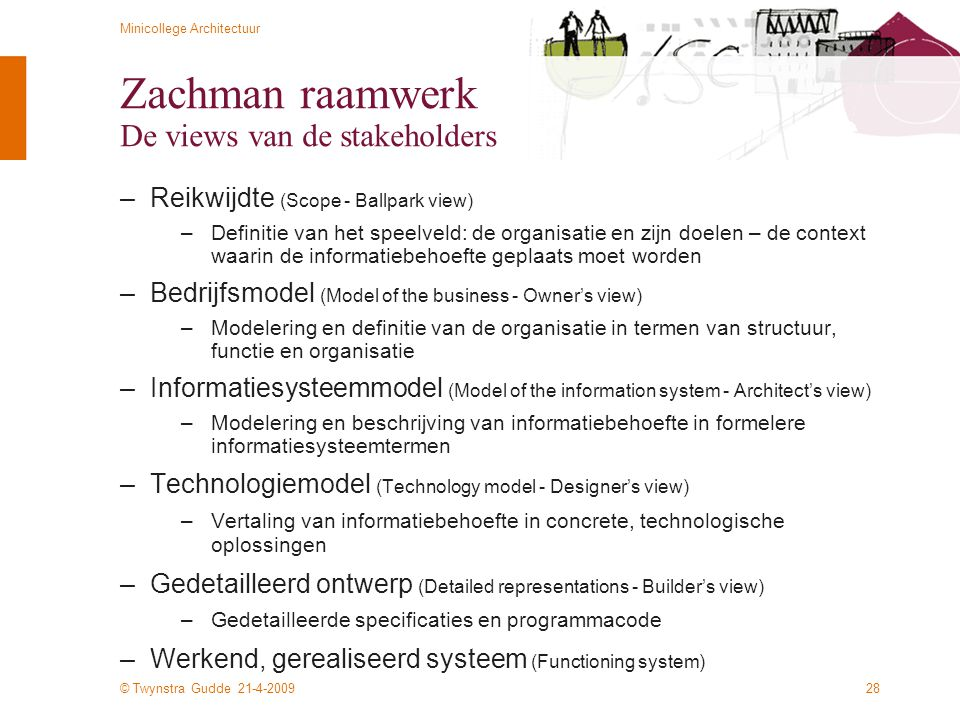 © Twynstra Gudde 21-4-2009 Minicollege Architectuur 28 Zachman raamwerk De views van de stakeholders –Reikwijdte (Scope - Ballpark view) –Definitie va