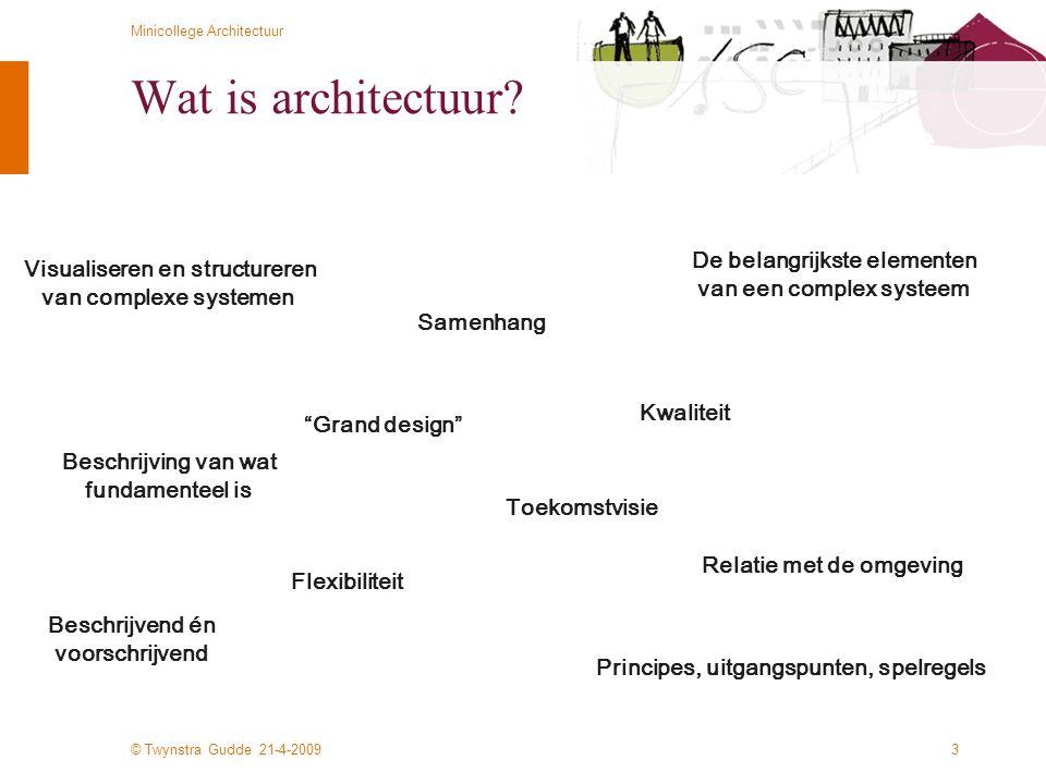 © Twynstra Gudde 21-4-2009 Minicollege Architectuur 4 Wat is architectuur.