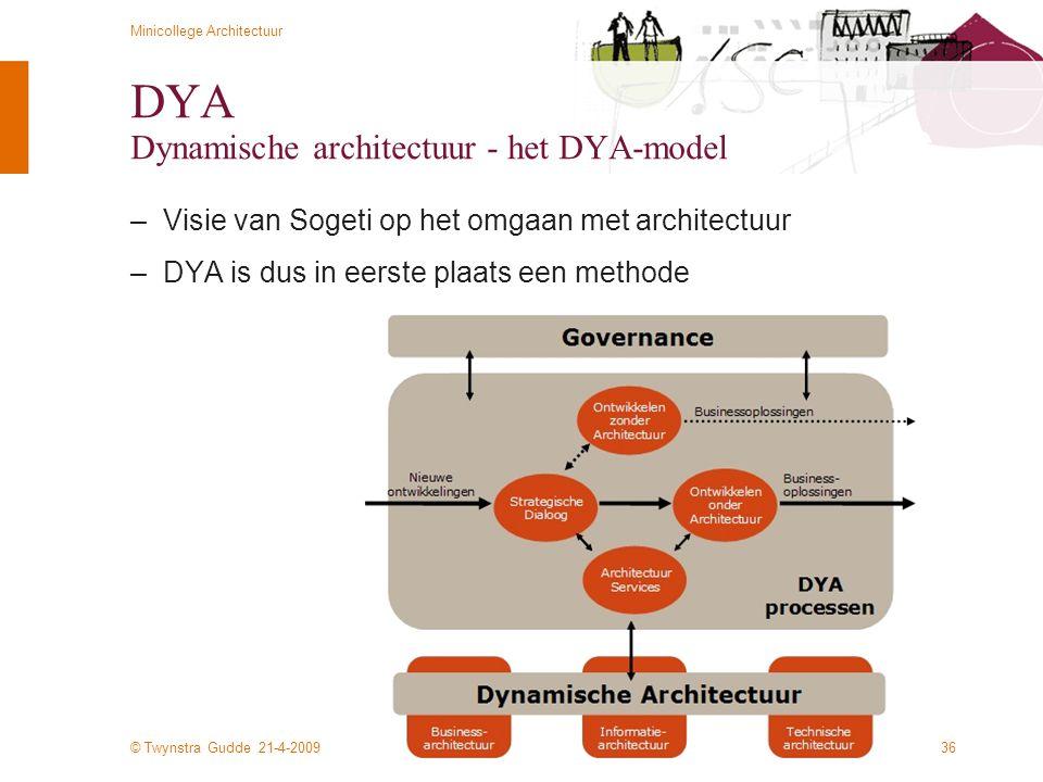 © Twynstra Gudde 21-4-2009 Minicollege Architectuur 36 DYA Dynamische architectuur - het DYA-model –Visie van Sogeti op het omgaan met architectuur –D