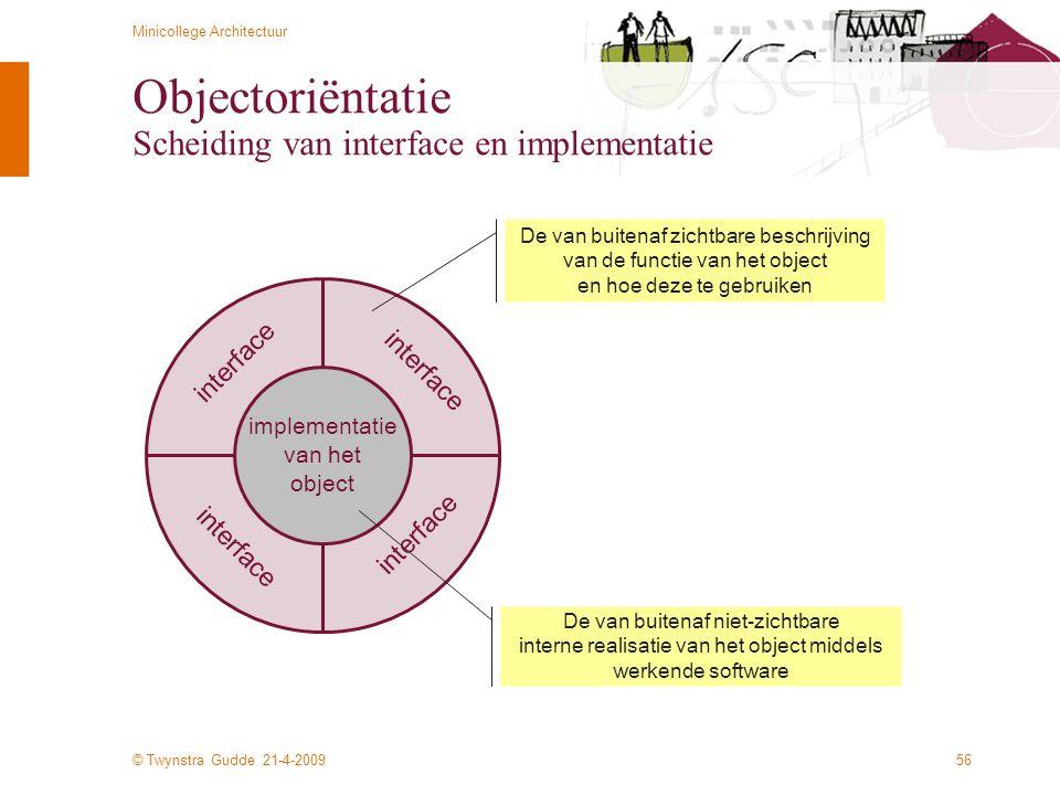 © Twynstra Gudde 21-4-2009 Minicollege Architectuur 56 Objectoriëntatie Scheiding van interface en implementatie implementatie van het object De van b