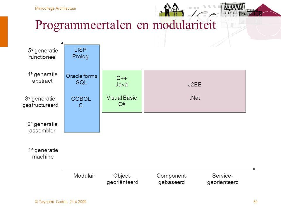 © Twynstra Gudde 21-4-2009 Minicollege Architectuur 60 Programmeertalen en modulariteit 1 e generatie machine 2 e generatie assembler 3 e generatie ge