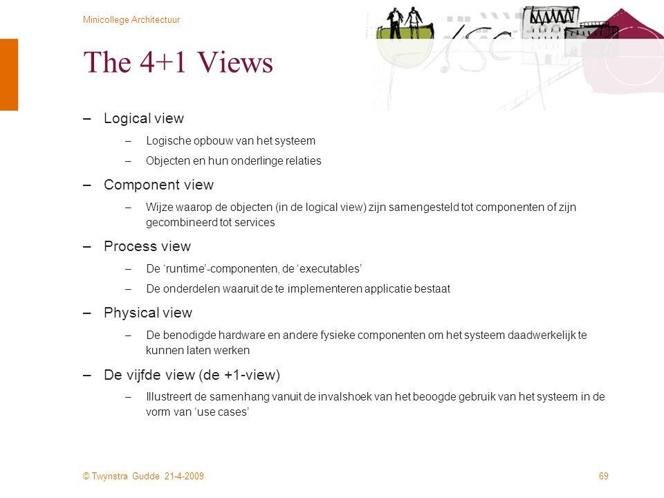 © Twynstra Gudde 21-4-2009 Minicollege Architectuur 69 The 4+1 Views –Logical view –Logische opbouw van het systeem –Objecten en hun onderlinge relati