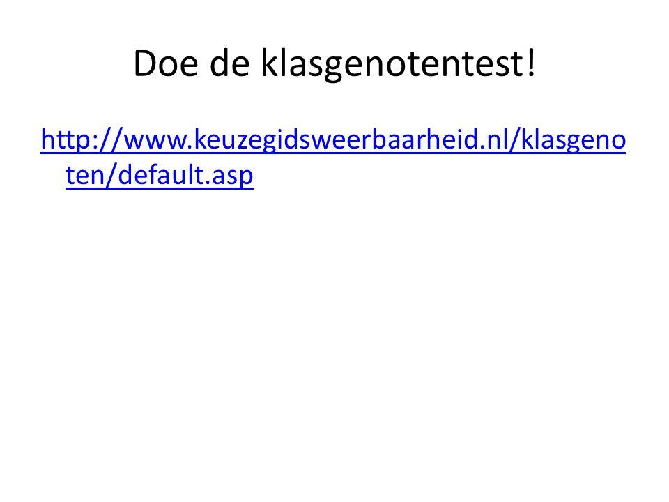 Doe de klasgenotentest! http://www.keuzegidsweerbaarheid.nl/klasgeno ten/default.asp