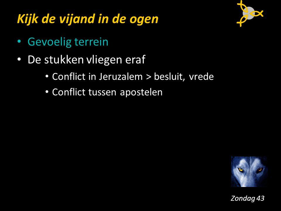 Kijk de vijand in de ogen Gevoelig terrein De stukken vliegen eraf Conflict in Jeruzalem > besluit, vrede Conflict tussen apostelen Zondag 43