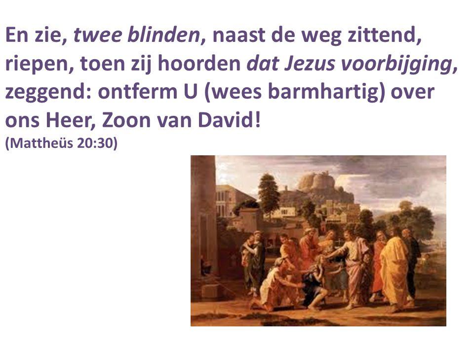 En zie, twee blinden, naast de weg zittend, riepen, toen zij hoorden dat Jezus voorbijging, zeggend: ontferm U (wees barmhartig) over ons Heer, Zoon v