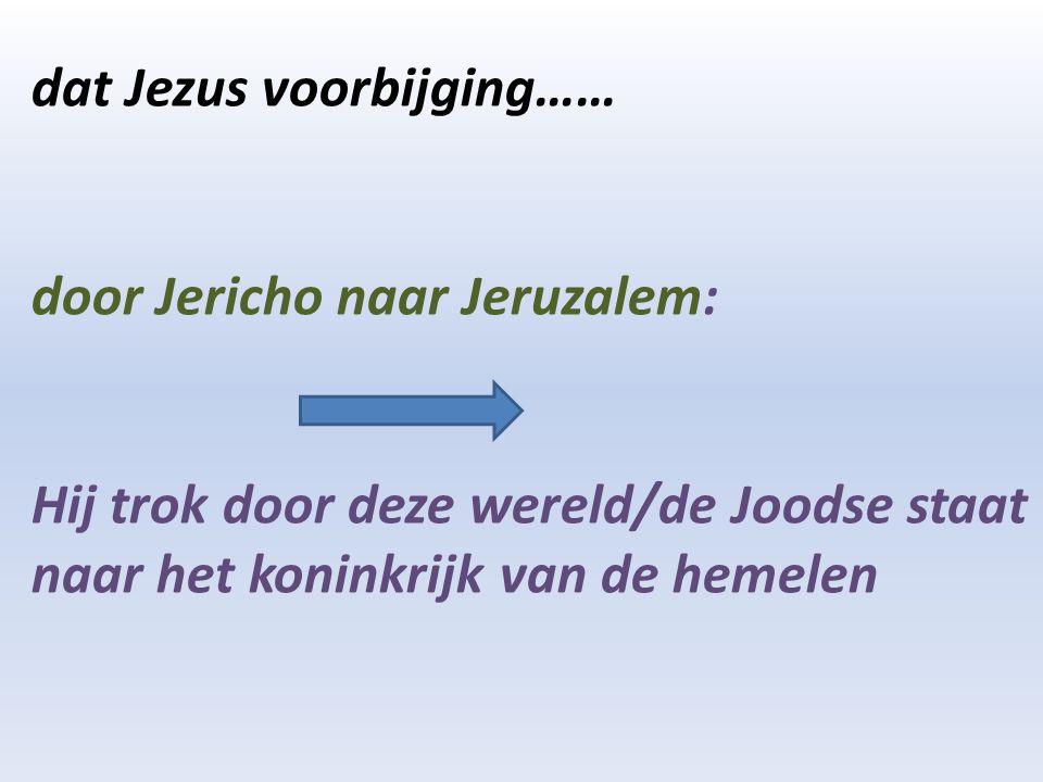 dat Jezus voorbijging…… door Jericho naar Jeruzalem: Hij trok door deze wereld/de Joodse staat naar het koninkrijk van de hemelen