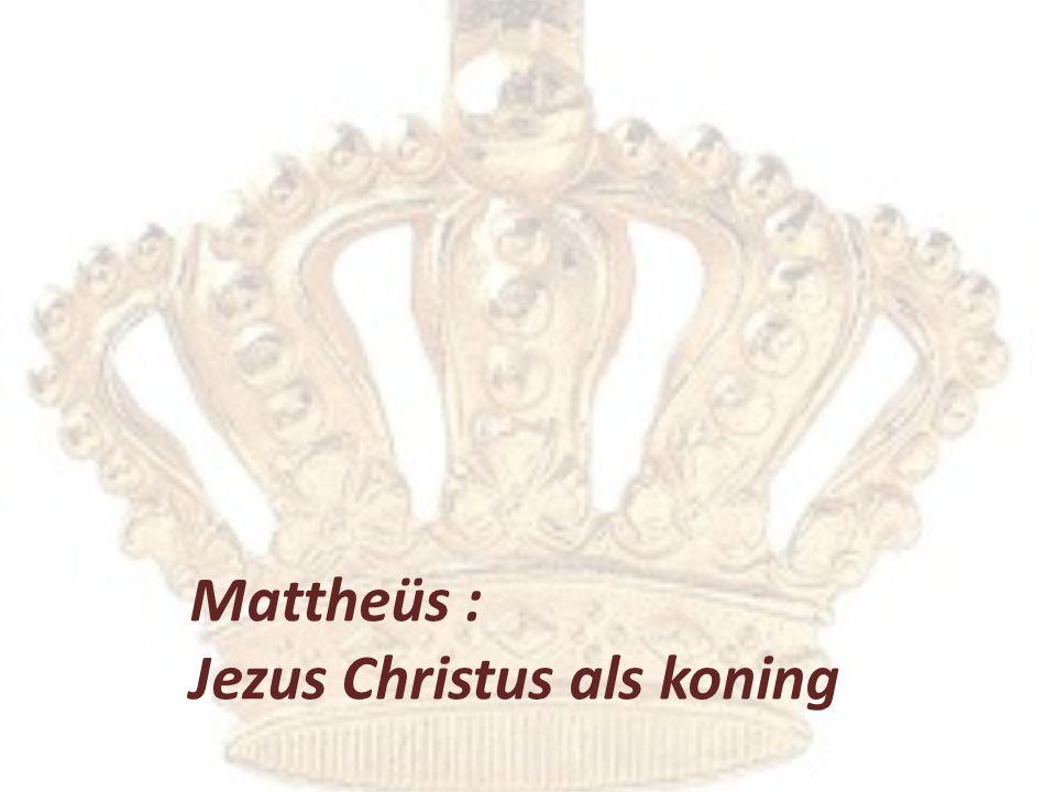 Kern van Mattheüs: het koninkrijk – aangekondigd 4:12-7:29 de Koning – geheraut 8:1–16:20 de Koning – verworpen 16:21-20:34 het koninkrijk – afgewezen 21:1-26:34