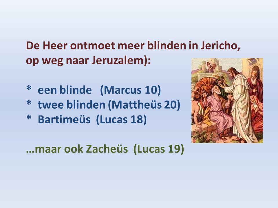 De Heer ontmoet meer blinden in Jericho, op weg naar Jeruzalem): * een blinde (Marcus 10) * twee blinden (Mattheüs 20) * Bartimeüs (Lucas 18) …maar oo