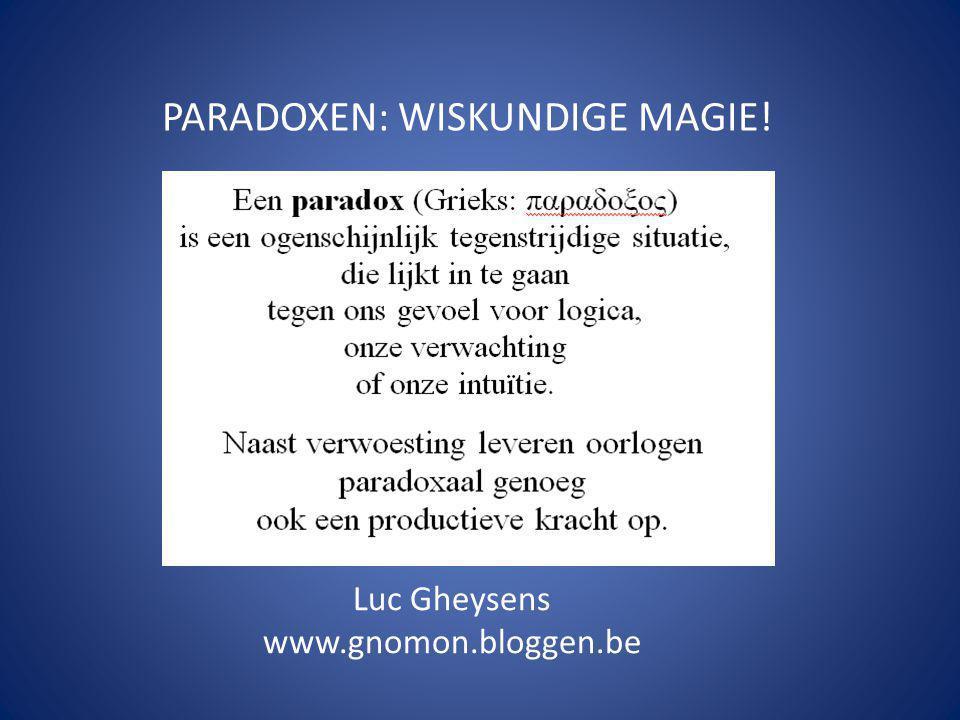 PARADOXEN: WISKUNDIGE MAGIE! Luc Gheysens www.gnomon.bloggen.be