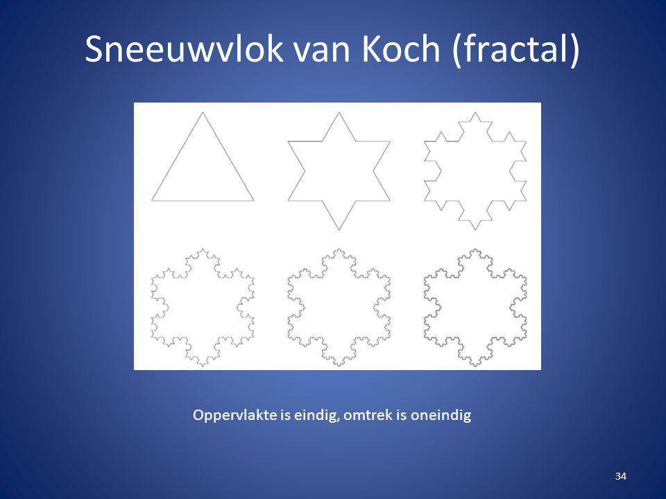 34 Sneeuwvlok van Koch (fractal) Oppervlakte is eindig, omtrek is oneindig