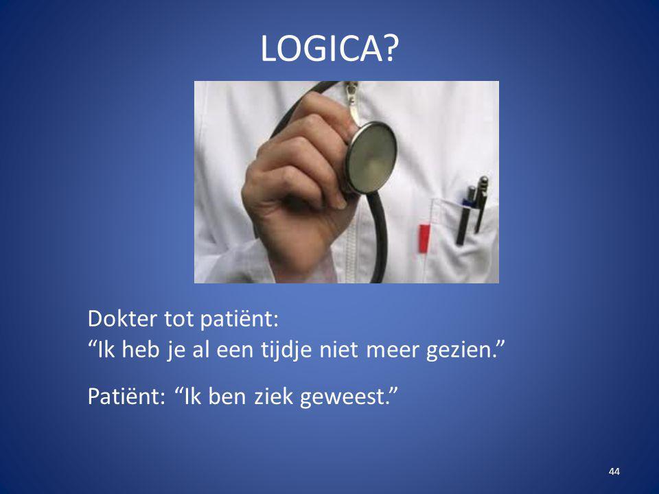 """44 LOGICA? Dokter tot patiënt: """"Ik heb je al een tijdje niet meer gezien."""" Patiënt: """"Ik ben ziek geweest."""""""