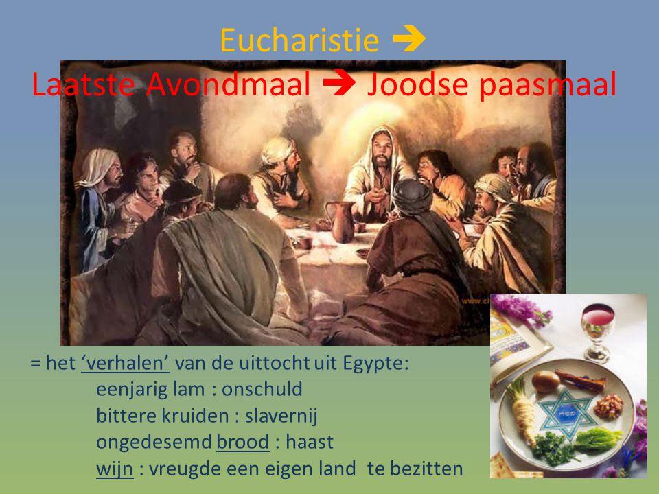 = het 'verhalen' van de uittocht uit Egypte: eenjarig lam : onschuld bittere kruiden : slavernij ongedesemd brood : haast wijn : vreugde een eigen land te bezitten Eucharistie  Laatste Avondmaal  Joodse paasmaal