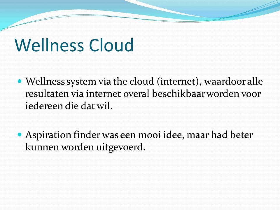 Wellness Cloud Wellness system via the cloud (internet), waardoor alle resultaten via internet overal beschikbaar worden voor iedereen die dat wil. As