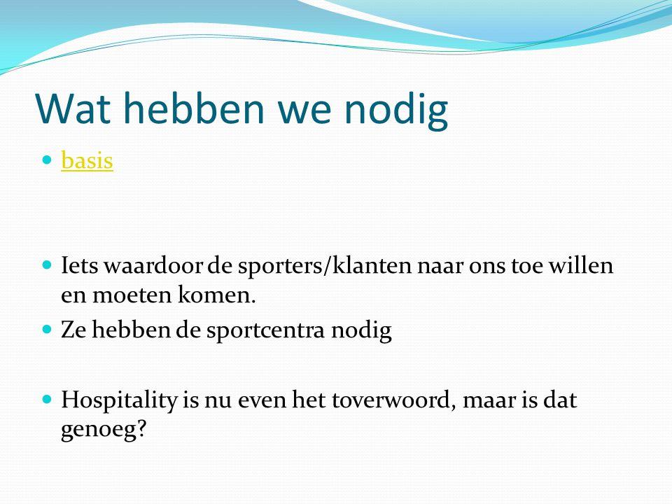 Wat hebben we nodig basis Iets waardoor de sporters/klanten naar ons toe willen en moeten komen. Ze hebben de sportcentra nodig Hospitality is nu even