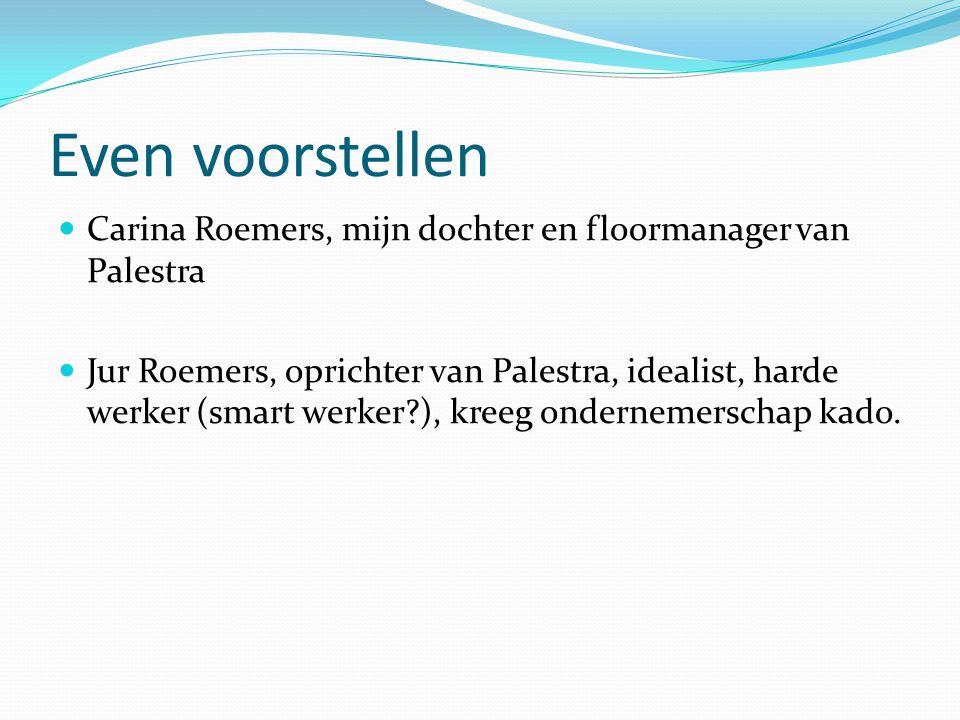 Even voorstellen Carina Roemers, mijn dochter en floormanager van Palestra Jur Roemers, oprichter van Palestra, idealist, harde werker (smart werker?)